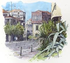 Una calle de Algorta (P.Barahona) Tags: paisajeurbano arquitectura árboles casas calle plantas
