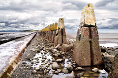 Cramond Barrier, Firth of Forth, Scotland (Neil Mair Photography) Tags: scotland edinburgh capital cramond island pylons concrete coast defence seadefence causeway maritime coastal forth firthofforth uk travel sea water perspective shoreline sands shore