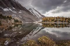 Spaceship Earth (Tracey Rennie) Tags: chesterlakehike autumn fall larches kananaskis alberta snow ice tarn