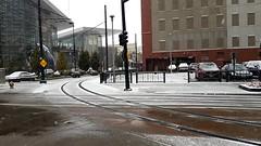 Denver, CO   2018.10.16   RTD Rail by the Blue Bear (Kaemattson) Tags: rtd train lightrail denver denverco snow october rail railway traininsnow conventioncenter hline floridast bluebear ohisee denverconventioncenter streetscape skyline