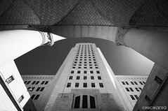 City Hall (Nick Kanta) Tags: arch architecture bw blackandwhite building california city d90 losangeles monochromatic nikon sky tamron1024 urban wideangle