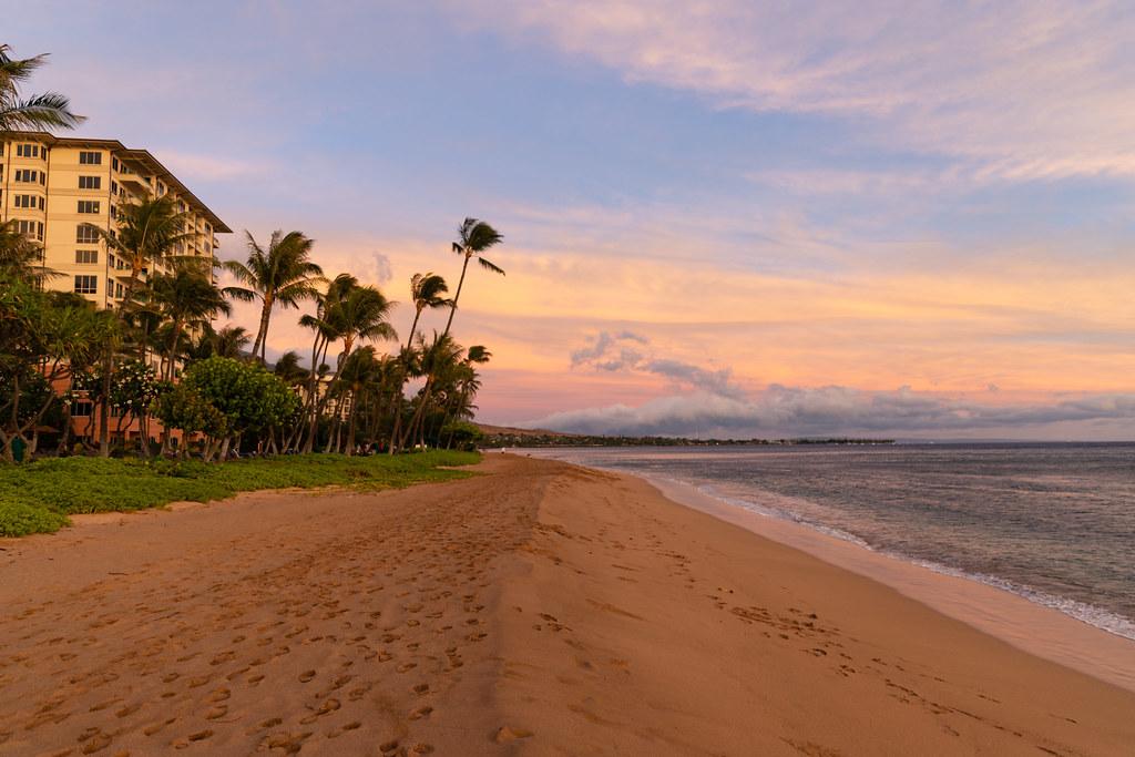 Golden hour Kaanapali beach Maui Hawaii