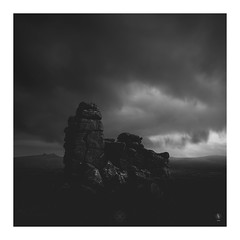 Watch Tower (picturedevon.co.uk) Tags: houndtor haytor dartmoor uk bw blackandwhite mono fineartlandscape sky clouds counrtyside outdoors rock dark storm weather grey canon ndfilter wwwpicturedevoncouk national perk devon