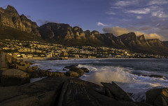 Camps Bay and the Twelve Apostles (Daniel P Froese) Tags: clifton campsbay bay camps cape town capetown southafrica africa south sunset apostles twelve beach waves rocks photo image picture photos images pictures clouds mountain mountains