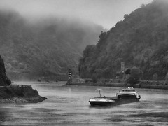 Carefully trough the fog (Zoom58.9) Tags: bw ship hill water river rhine fog sony nature landscape