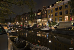 Amsterdam. (alamsterdam) Tags: amsterdam canal bloemgracht water bridge evening cars longexposure reflection