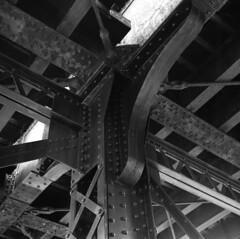 ctr2m (pavel photography) Tags: bridgepier beam ironbridge blackandwhitefilm bwfilm film superikonta rangefinder ilford 6x6film 6x6 columbus vintage120camera mediumformatfilm mediumformat