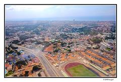 aerial views of accra (harrypwt) Tags: harrypwt fujix70 x70 nigeria accra ghana aerial green grass africa afrika building street stadium