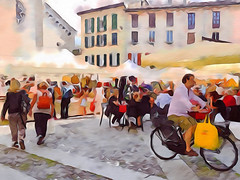 Piazza San Fedele a Como (Enchanted Loom) Tags: como painterly
