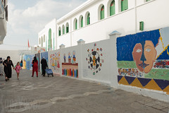 Murals on the School Wall (Sue_Hutton) Tags: asilah maroc morocco september2018 tanger tangier tangiers autumn mural school