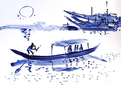 AFRICA TO THE NAKED 283 (eduard muntada) Tags: africa to the naked 283 watercolor sun light blue purple simplicity mountains river boat essential