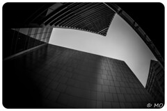 Synaesthesia (mathieuo1) Tags: orchardroad singapore street asia building graphic blackandwhite fineart tone nikon monochrome travel explore composition up open wide wideangle nikonfr perspective rules sharp buildings construction tower mood modern art streetphotography strong confined contrast tune architecture mathieuo