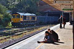 Unscheduled Arrival (whosoever2) Tags: uk united kingdom gb great britain england nikon d7100 train railway railroad october 2018 leicester gbrf class66 66714 6e89 wellingborough rylstone tilcon sun