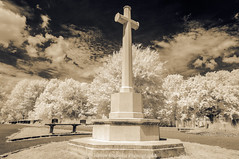 The White Cross II (James Etchells) Tags: arnos vale cemetery garden bristol city urban victorian tomb tombs infrared ir photography landscape landscapes surreal sky clouds final resting place cross sacrifice world war 2 ii two 1 one i great sepia effect old photographic process light dark structure architecture south west uk england britain nikon trees tree nature natural explore exploration