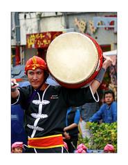Ryukyu Folk Dance (Armin Fuchs) Tags: arminfuchs japan okinawa naha folkdance ryukyu man drum red blue yellow folklore energy