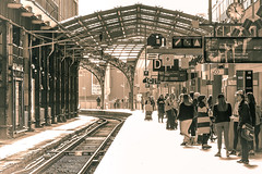 Waiting (Carlos Lacano) Tags: station waiting people bw structure black white cologne germany carlos lacano canon m50