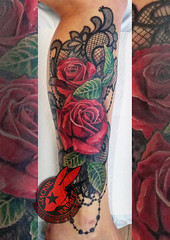 Red Rose Roses Black lace Beautiful Best Real Realistic 3D Tattoo by Jackie Rabbit