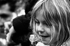Look! (Alfred Grupstra) Tags: people outdoors blackandwhite child females women smiling happiness portrait humanface cheerful lifestyle lifestyles girls youngadult oneperson blondhair cute beautiful 842