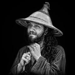 Nice Hat Dude (Jim-Mooney) Tags: bw black white blackwhite blackandwhite mono monochrome monotone streetphotography people portrait fuji xt2 fujinon50140mm candid kansascity square