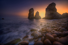 the three rocks (ALFONSO1979 ) Tags: landscape new travel sunset sunrise world clouds water amazing sea scape seascape autumm winter flickr explore rocks portugal pink house orange garden people