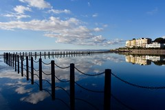 Weston Super Mare (Nige H (Thanks for 15m views)) Tags: nature landscape seascape westonsupermare england somerset sky clouds cloud reflection chain fence marinalake