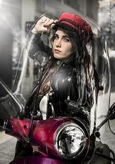 María (Raelser (Ramiro)) Tags: vespa moto street calle chica modelo girl beautiful aventura nolimit limite
