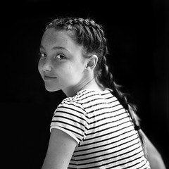 L1010423 (John F. Roberts) Tags: leicasl 50mm summilux sl black white portrait girl braid hair stripes