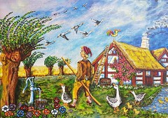 ---COME--COME-FLY WITH US !!! (tomas491) Tags: freedom goose wildgose boy nilsholgersson house travel chickens ladder smoke sky clouds trees pump barrel anemones roses wheat selma lagerlöf tamewildgoose