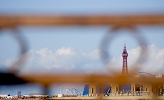 Eye of the Needle (Daniel Kearney) Tags: blackpool fyldecoast lancashire northwest sea sand promenade wave bluesky nikon d80 danielkearney digital colour seafront seadefences seawall southbeach blackpooltower rust depthoffield dof