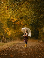 everything is Orange and Yellow (agirygula) Tags: autumn fall leaves orange yellow herbst herbstlivh childhood childhoodmemories childphotography girl umbrella forest way walking