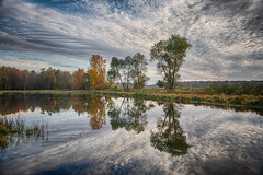 Autumn Reflections (Conrad Kuiper) Tags: 7dmkii fall canon autumn hullett reflection 18135mm color colour clouds water