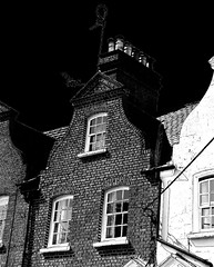Dutch gable (Snapshooter46) Tags: dutchgable terracedhouses parkroad tring architecture windows brickwork chimneys monochrome blackandwhite photosketch