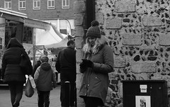 Should I Stay or Should I Go (Bury Gardener) Tags: streetphotography suffolk streetcandids snaps candid candids people peoplewatching street 2018 nikond7200 nikon england eastanglia burystedmunds bw blackandwhite britain monochrome mono cornhill