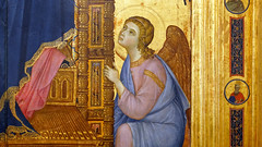 Duccio, Rucellai Madonna, detail with angel
