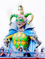 Jester statue on Decatur Street in New Orleans Louisiana French Quarter (CarmenSisson) Tags: neworleans louisiana outside outdoors unitedstates usa southeasternus sunny day theatrical jester mardigras harlequin statue monument art publicrt artwork frenchquarter decaturstreet touristattraction travel tourism