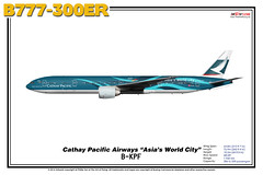 """Boeing B777-300ER - Cathay Pacific Airways """"Asia's World City"""" (The Art of Flying) Tags: aircraft airliner airplane boeing b777300er b773er b777 tripleseven aviation aviationenthusiast artprint theartofflying planes widebody illustration cpa cathaypacific"""