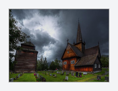 Vågå Stave Church - Norway (Fr@nk ) Tags: church vågåstavechurch vagamo norway norge landscape canon6d ef1635mmisl rain weatherconditions europe rec0309 recent mrtungsten62 frnk europ12 grass green wet people pagans stpeter ullinsyn worship topf25 topf50 topf100 cemetry sun clouds nuages ciel himmel sky cloudporn naturephotography world100f