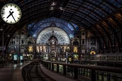 7:25 AM (mcalma68) Tags: antwerp belgium station central traintrack train travel architecture city building clock