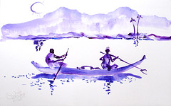 AFRICA TO THE NAKED 219 (eduard muntada) Tags: africa to the naked 219 watercolor sun light mountains survive river blue purple essential simplicity boat