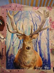 Cerf_aquarelle (zeroyo yasu) Tags: dessin aquarelle animal cerf bois foret a1