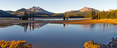 Evening Panorama (Tom Fenske Photography) Tags: bend cascades sparkslake stitched brokentop southsister oregon reflection sunset water