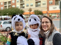 Kate with the twins at a Halloween festival today (dionhinchcliffe) Tags: moblog iphonepics