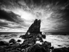 Shag Rock (Timothy Gilbert) Tags: sunrise water lumix panasonic shagrock longexposure boulders shore blackandwhite beach panasonic1235mmf28x bluehour downderry monochrome cornwall m43 microfourthirds lovecornwall microfournerds portwrinkle coast gx8 whitsandbay rocks