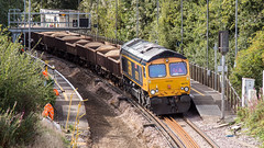 66710 (JOHN BRACE) Tags: 2002 gmemd london canada built co class 66 loco 66710 gb railfreight channel tunnel livery named phil packar brit seen ifield station during track renewal works photo taken from overdean drive road bridge