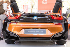Heckansicht BMW i8 Roadster in Rost-braun (verchmarco) Tags: car auto vehicle fahrzeug transportationsystem transportsystem race rennen fast schnell power leistung noperson keineperson competition wettbewerb wheel rad autoracing autorennen drive fahrt track spur industry industrie action aktion business geschäft hurry eile glazed glasiert travel reise championship meisterschaft contemporary zeitgenössisch foliage ontario day airplane nyc design me abandoned skin selfie
