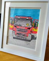 Fire engine in inks.... (GP1805) Tags: artwork art artist draw drawings sketch inktober ink inkdrawing winsorandnewton derwent fabercastell ely cambridge cambridgeshire fire firebrigade fireengine