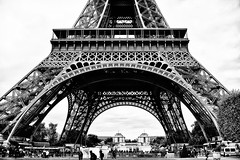 Eiffel Tower (stephaneblaisphoto) Tags: arch architecture bridge man made structure building exterior built city cloud sky day history incidental people low angle view nature outdoors past tourism transportation travel destinations eiffel tower bw blackandwhite monochrome