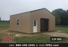 """One Car Garage - 24' W x 24' L x 10' 4"""" H (ID# 484) (pioneerpolebuildings) Tags: 24' w x l 10' 4"""" h id 484 ridge vent do you need small garage siding color tan roofing ivy green trim more details httppioneerpolebuildingscombuildingids401to500project24wx24lx104hid484approximatecost12454 door storage windows pioneer id484 ppb pioneerpolebuildings polebarn roof metal 21111"""