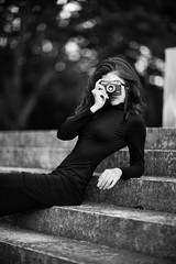 Eva (Merllyn) Tags: analog dress black hair curls model body stairs monument blackandwhite white photography potrait analogue camera film retro sony canon 85 12 f12 85mm beauty shape