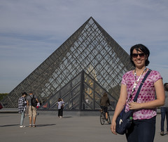 Katie at the Louvre (noname_clark) Tags: paris france louvre pyramid glass famous icon katherine